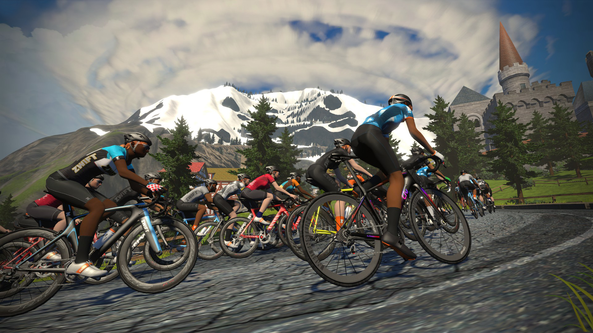Zwift riders climbing a mountain