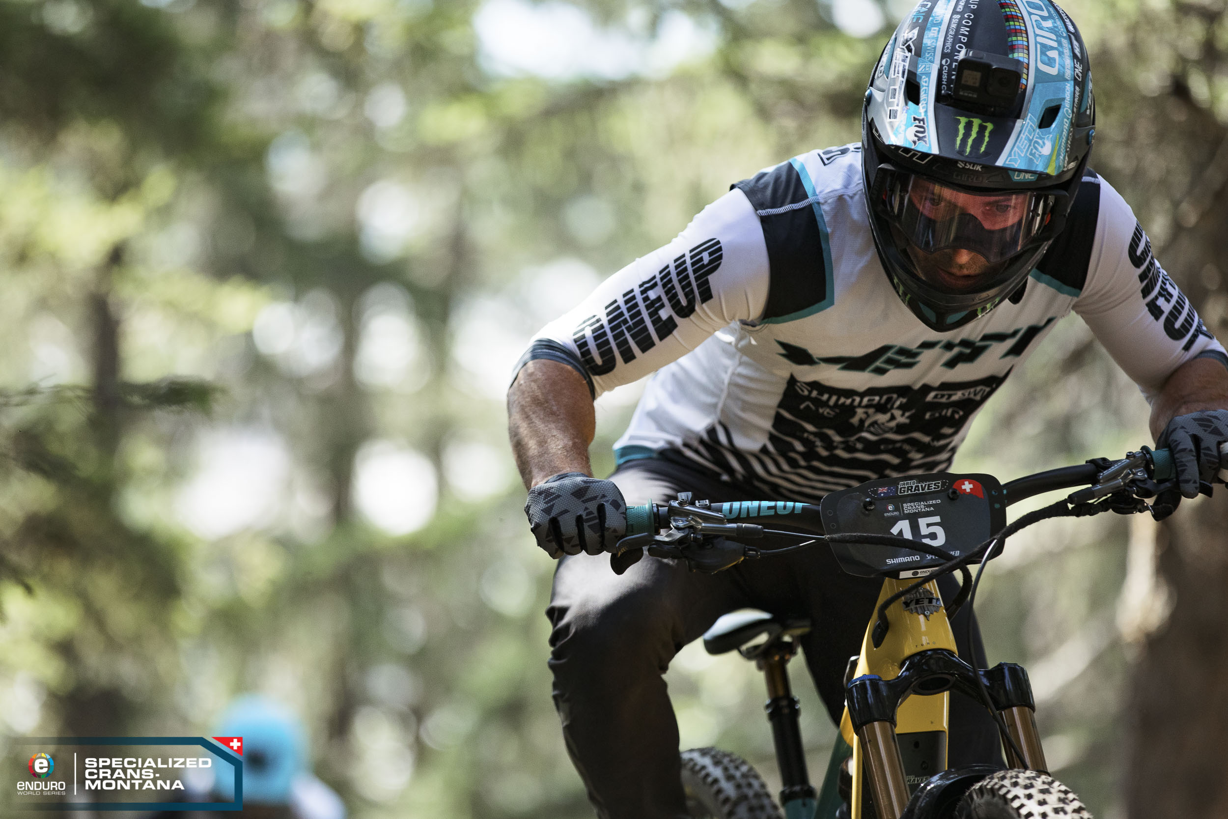 Jared Graves in between the tape in his first EWS-E race.