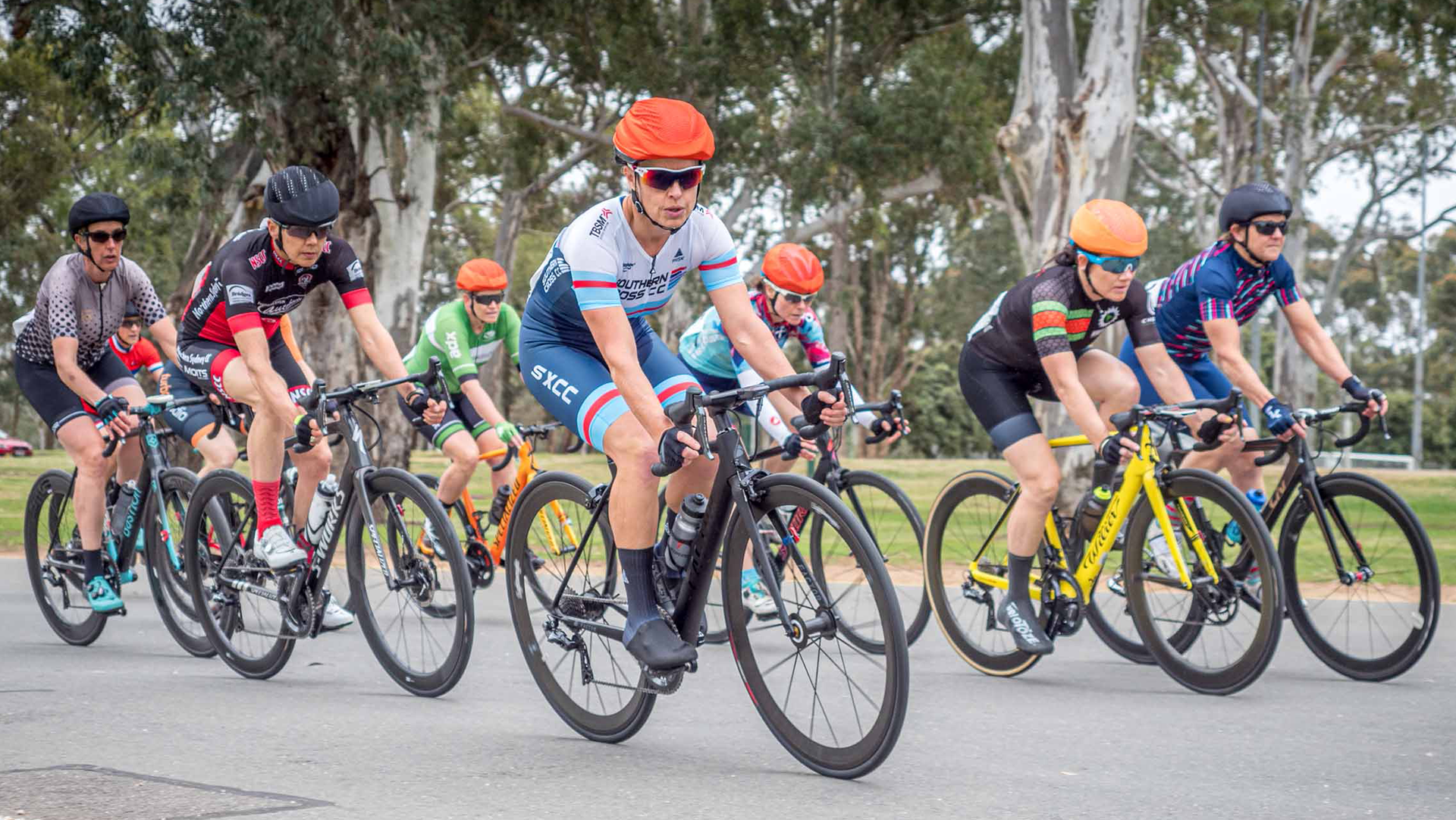 Cyclists representing their club at an AusCycling national race