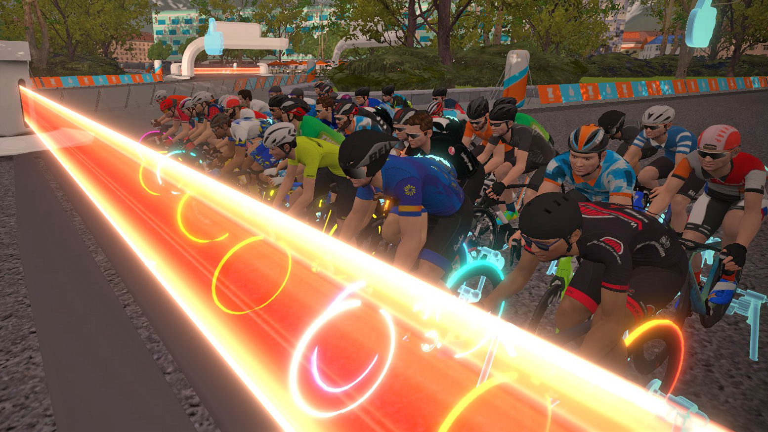 Zwift cyclists at a start line