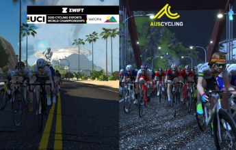 Australian National Team races in the inaugural UCI Cycling Esports World Championships